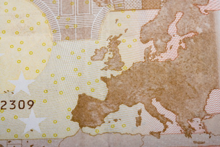 Detail of Euro note showing European continent