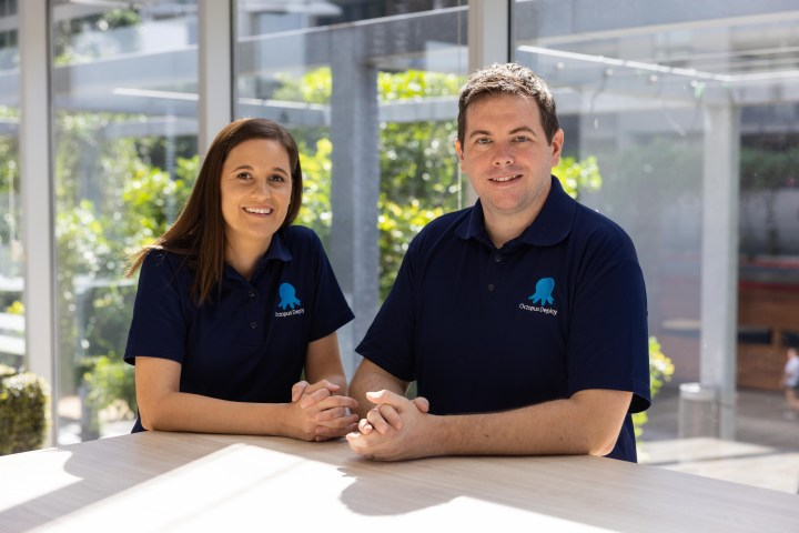 A photo of Octopus Deploy's chief financial officer Sonia Stovell and chief executive officer Paul Stovell