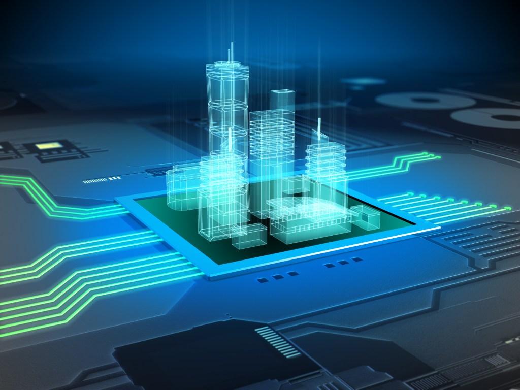 Modern city buildings on a printed circuits board. Digital illustration.