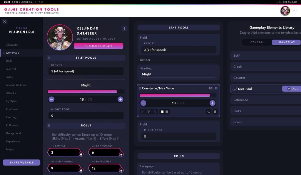 Captura de pantalla de la interfaz de Role para crear sistemas de juego.