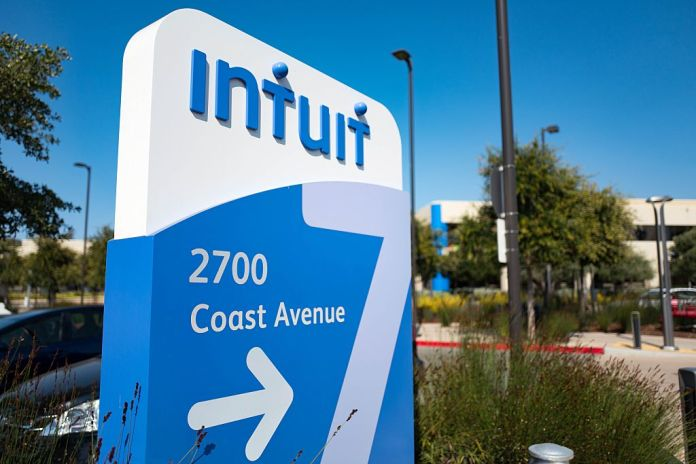 Signage for financial software company Intuit at the company's headquarters in the Silicon Valley city of Mountain View, California, August 24, 2016.  (Photo by Smith Collection/Gado/Getty Images).