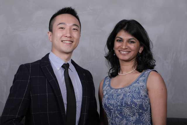 A photo of Portcast founders Dr. Lingxiao Xia and Nidhi Gupta