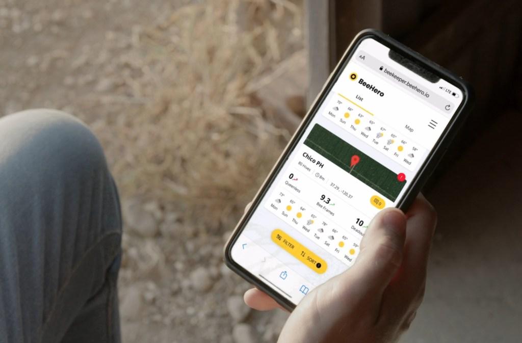 The BeeHero app on a smartphone showing hive health metrics.