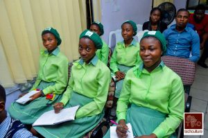 Girls from GGSS Oromineke seated down at the event