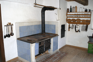 A wood-burning stove in a farm museum