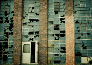 Broken windows in an old abandoned factory