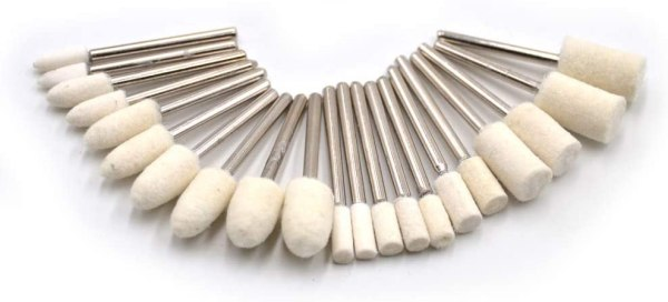 Wool felt bobs for polishing and cleaning