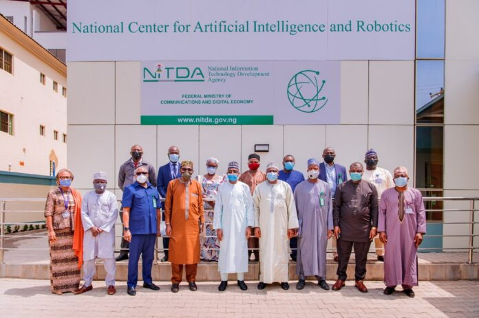 Director General, NITDA, Mal. Kashifu Inuwa Abdullah with Vice Chancellor, Federal University Minna and management of both organizations during a courtesy visit to National Centre for Artificial intelligence and Robotics, NCAIR, Wuye, Abuja
