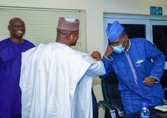 Governor Yahya Bello exchanging pleasantries with Alhaji Yushau Shuaib, Multi-Award Winning PR in Nigeria