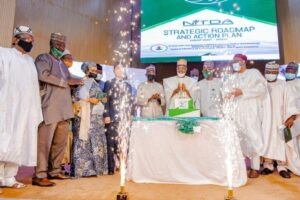 NITDA strategy 2021-2024 and lectureMinister of Communications and Digital Economy, Dr Isa Ali Ibrahim (Pantami), Permanent Secretary of the Ministry, Engr Festus Dauda, Chairman NITDA Governing, Dr Said Abubakar, Director General, NITDA, Kashifu Inuwa, cutting NITDA's 20 Anniversary Cake and flanked by other guests
