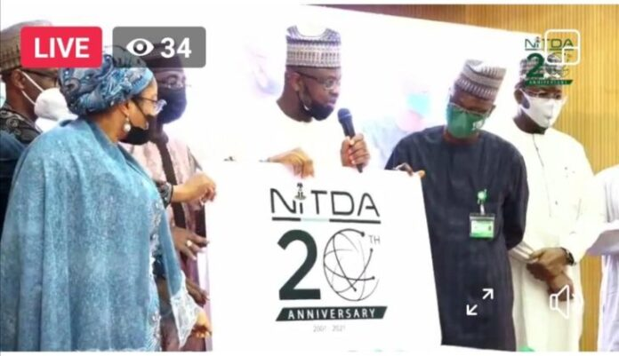Unveiling of NITDA's 20th anniversary logo by Dr. Isa Ali Ibrahim Pantami, Minister of Communication And Digital Economy