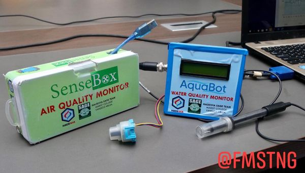 Sensebox and Aquabot device; monitoring devices for air and water pollution