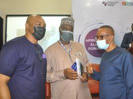 Mr. Chinenye Mba-Uzoukwu, Engr. Oluwatoyin Asaju, Dr. Ikechukwu Adinde L-r: Mr. Chinenye Mba-Uzoukwu, president, Institute of Software Practitioners of Nigeria (ISPON); Engr. Oluwatoyin Asaju, director, Spectrum Administration at NCC and Dr. Ikechukwu Adinde, director, Public Affairs at NCC, during AfriTECH2021 in Lagos recently