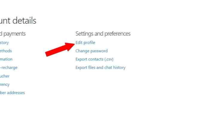 Edit profile- How To Change Your Skype Username