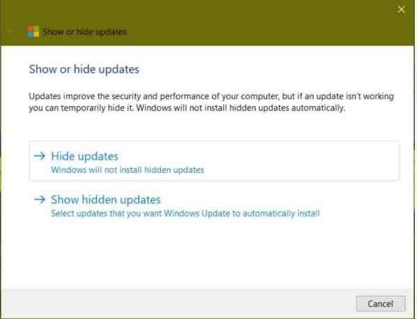 Hide Updates