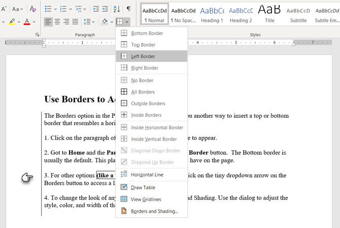 Use Borders to Insert a Line in Word