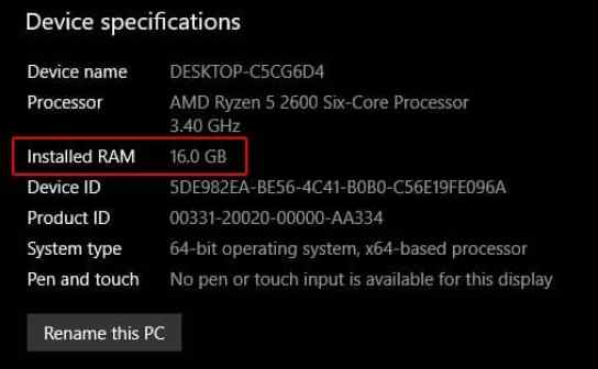 How Much Ram Do I Have on Windows 10