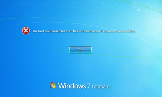 Trust relationship between this workstation and the primary domain