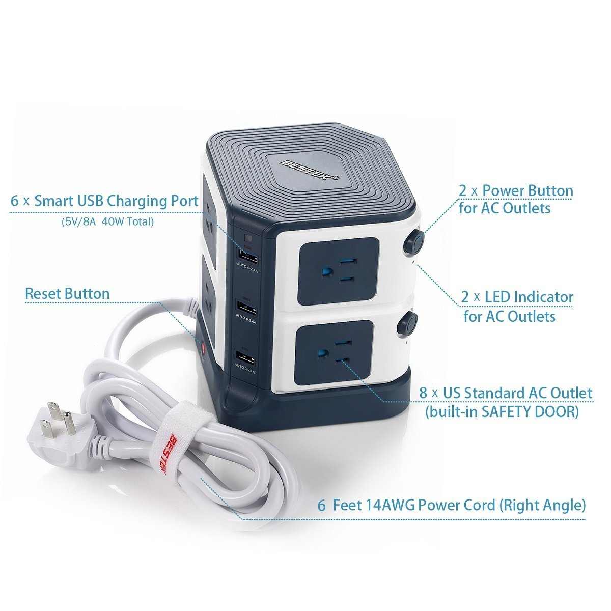 Bestek Eight Outlet Cube Surge Protector And Power Strip
