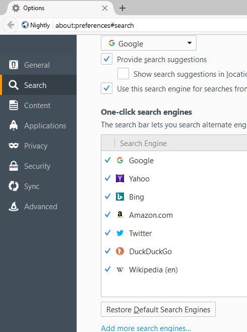 Firefox Policy Engine
