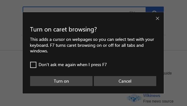 Caret browsing prompt in Microsoft Edge