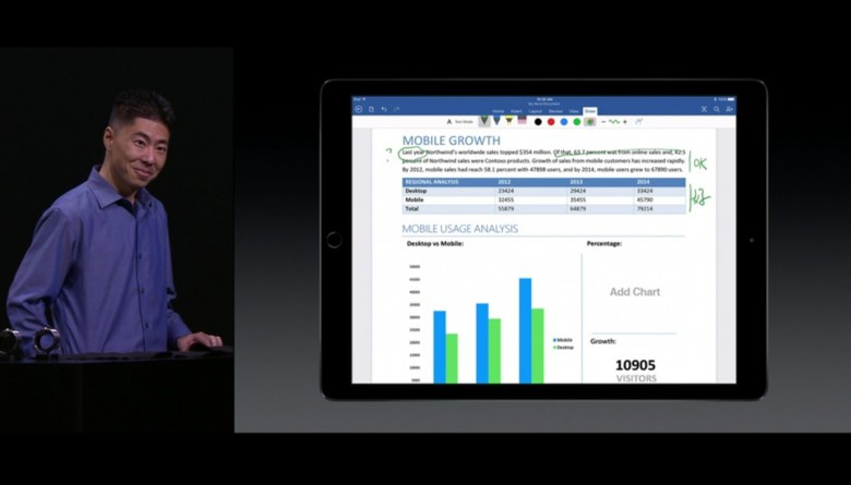 Unveiling Microsoft Office 2016 at the launch of the iPad Pro in 2015