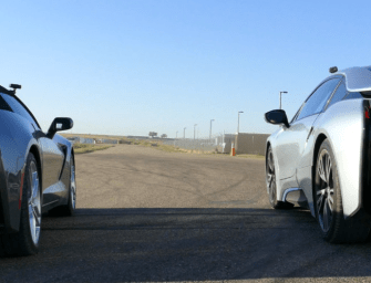 2015 Chevrolet Corvette Stingray vs BMW i8 Drag Race