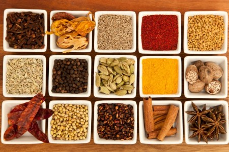 An array of different Indian spices