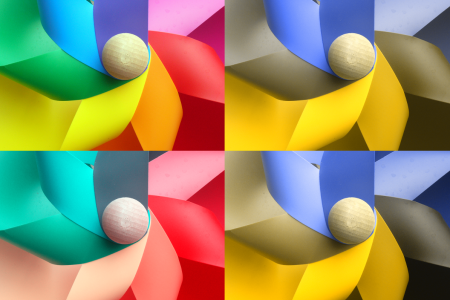 4 images, each demonstrating different colour seeing conditions