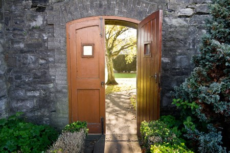 open door leading to garden