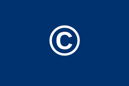 White copyright symbol, the letter c inside a circle, on a navy blue background