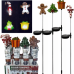 """Solaris Solar Powered 30"""" HOLIDAY Garden Lights gingerbread man, holly, present & Candy Cane"""