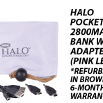 Halo Pocket Power 2800mah Power Bank w/3 Adapter Tips (Pink Leopard)