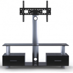 """32-55"""" 2-Tier Stand with Built-in Mount & Drawers"""