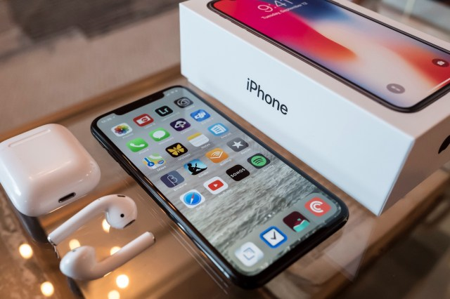 iPhone X with AirPods and Box