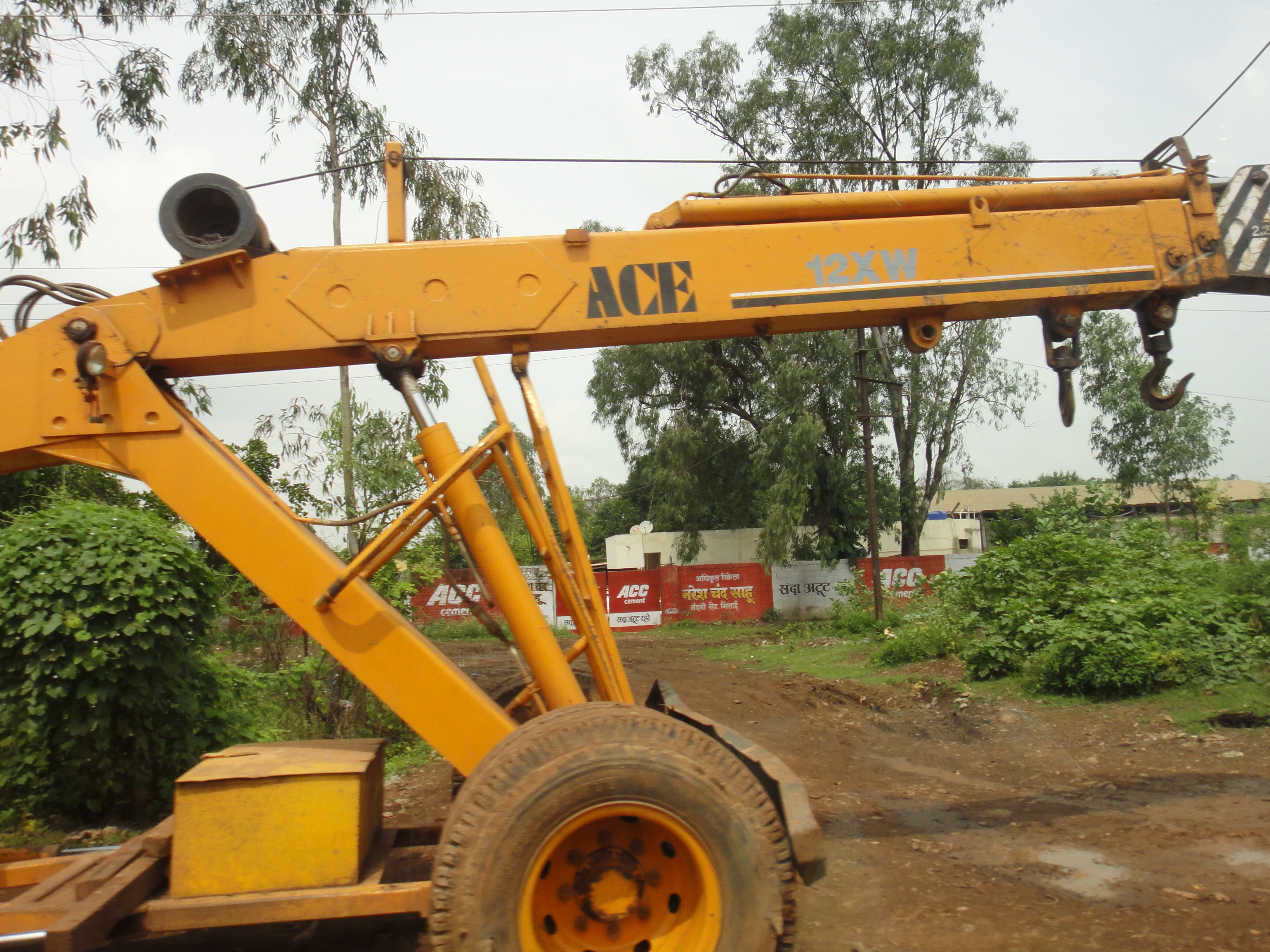 A crane with an electromagnetic boom