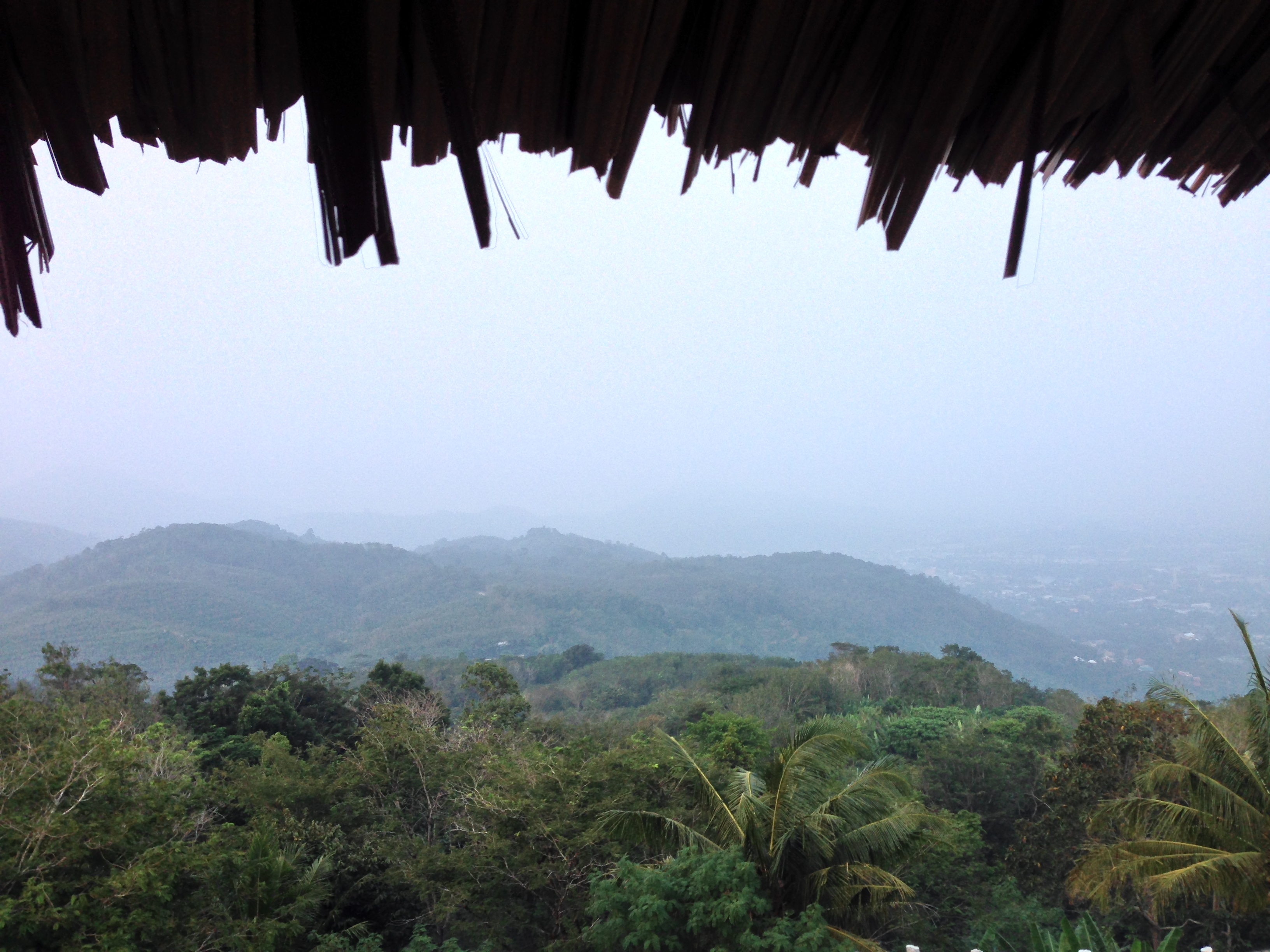 View of the hills from a vantage point near the entrance of the Big Buddha structure.
