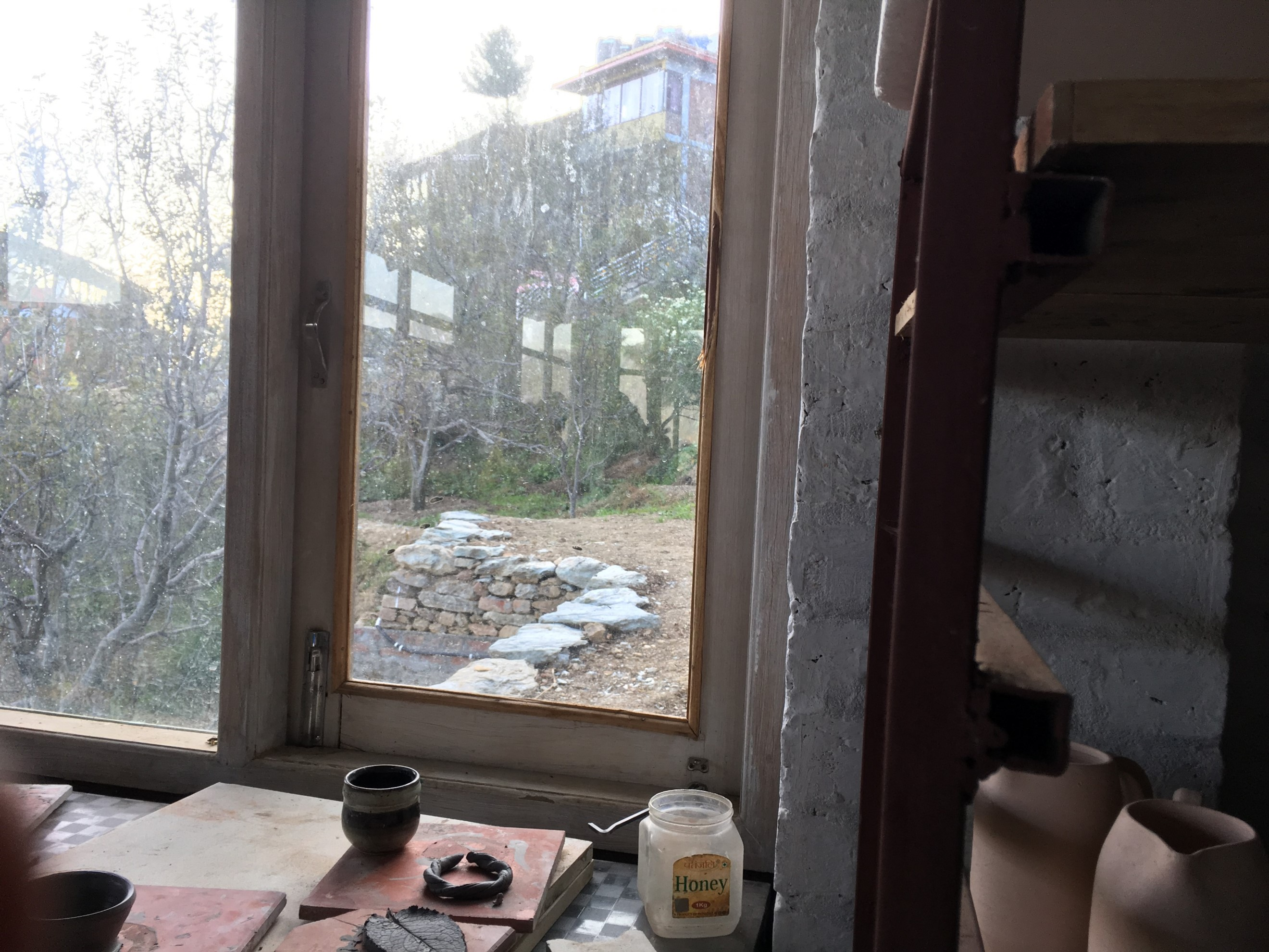 The view from the pottery studio with walls and plants and things