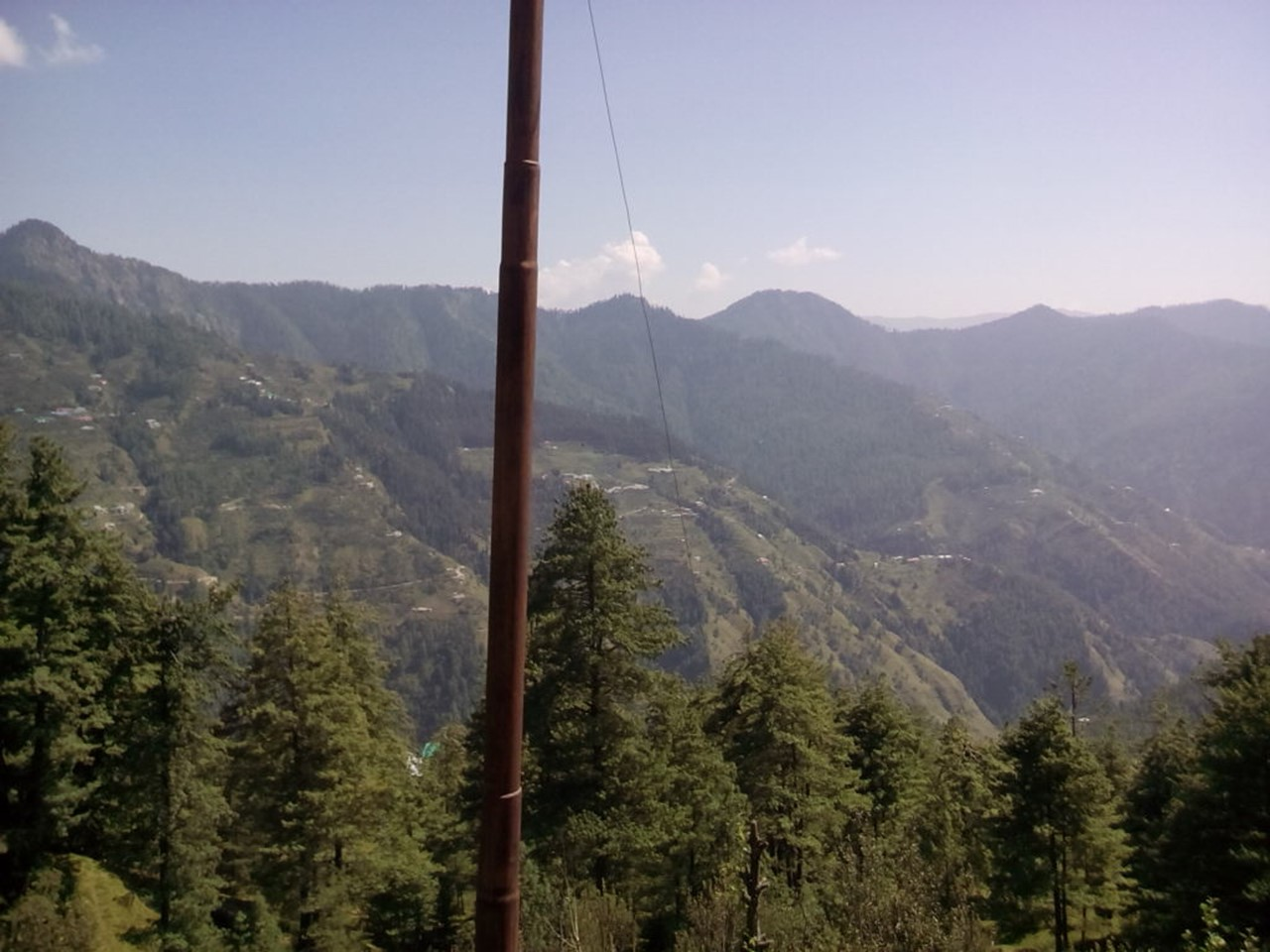 Trees with layers of mountains in the background