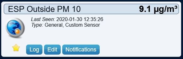 Domoticz PM 10 virtual sensor displaying values from SDS011 sensor