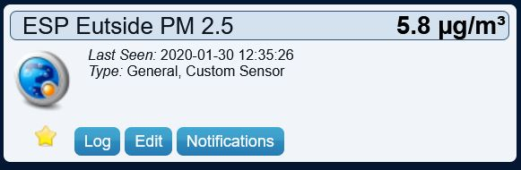 Domoticz PM 2.5 virtual sensor