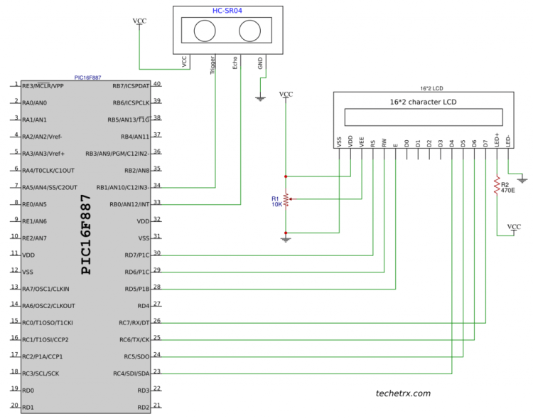 Image shows interfacing of ultrasonic sensor with pic microcontroller pic16f887.