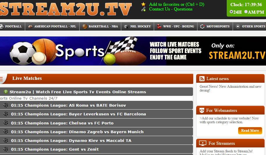 Stream2u sport streaming site