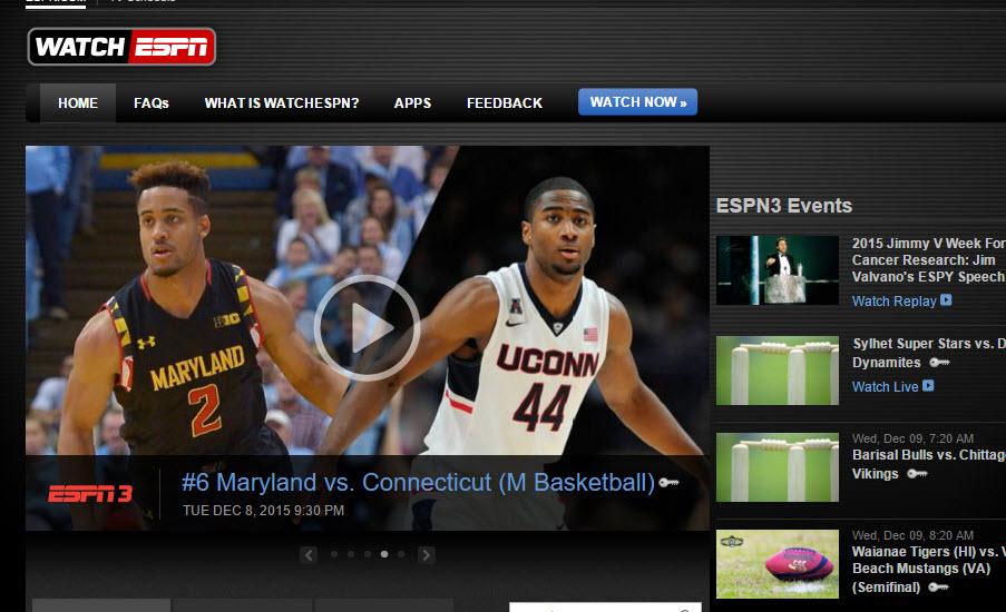 WatchESPN sport streaming site