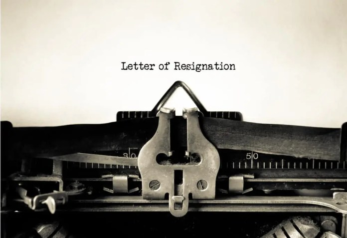 Letter of Resignation typed on a Vintage Typewriter