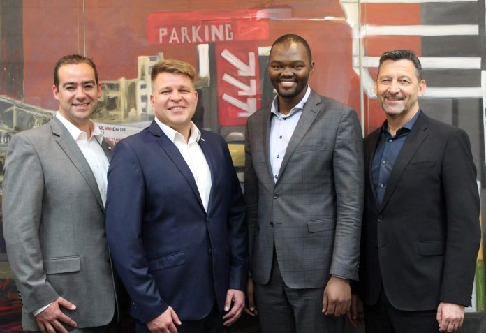 From Left to right: Bridgestone: Jacque Fouries -CEO, Christo Jansen van Rensburg -OE Executive, Santaco Thulane Qwabe - Chief Business Development Executive and SA Taxi Terry Kier -CEO.