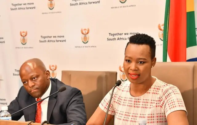 Communications Minister Stella Ndabeni-Abrahams and SABC Chairperson Bonginkosi Makhathini brief media in Pretoria.
