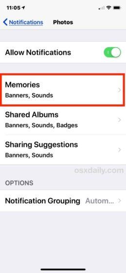 turn off memories iphone