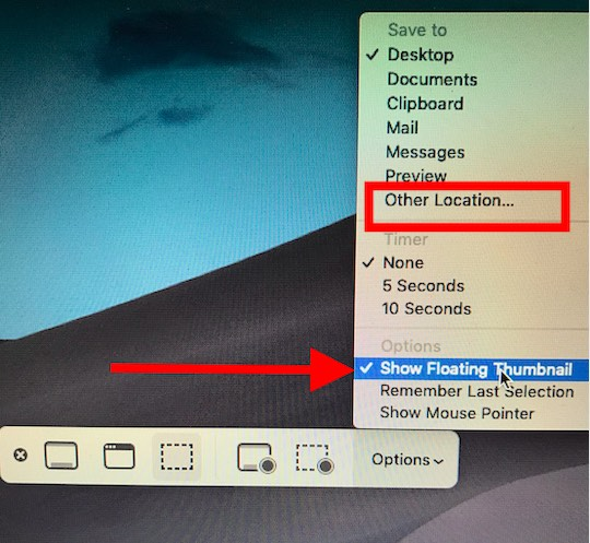 Disable the Floating Screenshots Preview in macOS Mojave in 2019: