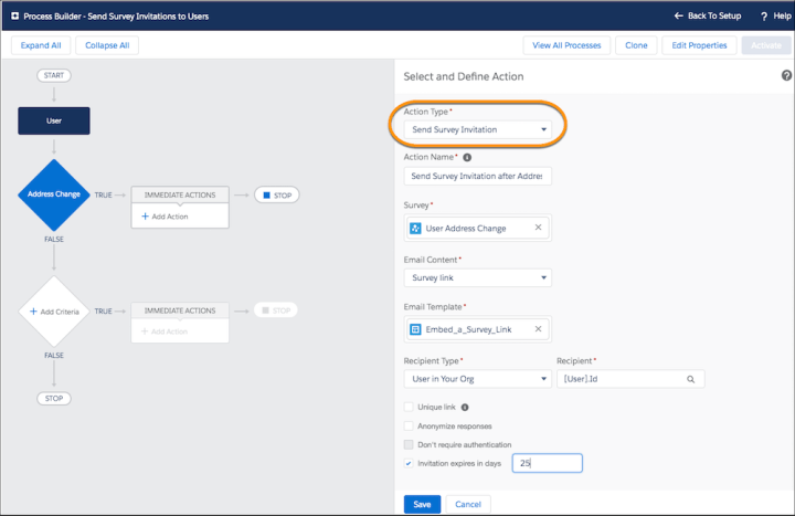 Send Survey invitations to users salesforce winter 20 release